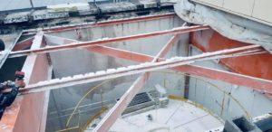 demontage decoupage demolition poutrelle acier toiture industrielle garage