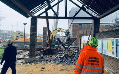 Legros démolition intervient en urgence pour sécuriser un bâtiment à Wanze
