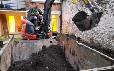 Travaux de terrassement avec notre grue mobile à Liège