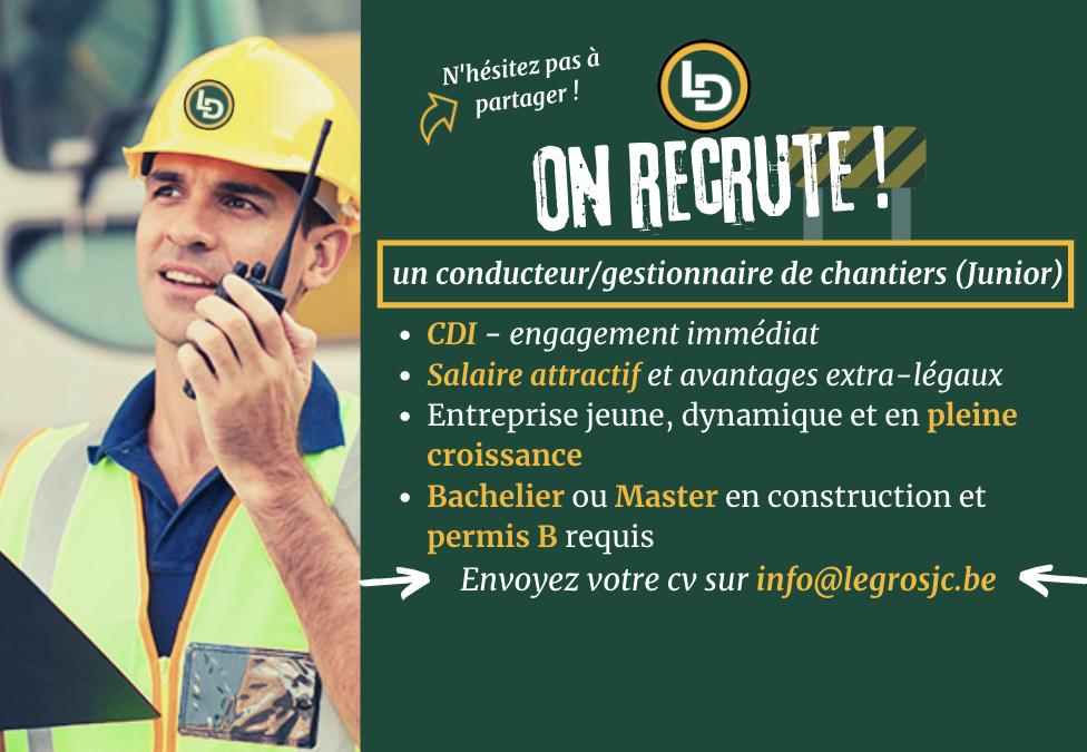 On recrute un conducteur/gestionnaire de chantiers (Junior)