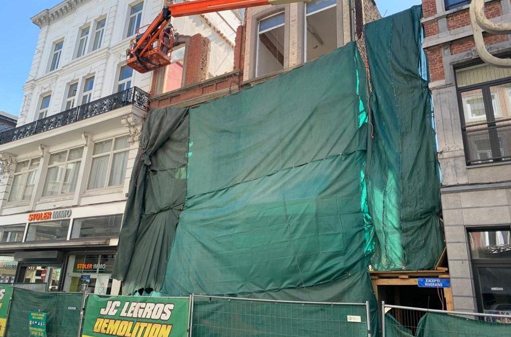 Démolition de bâtiments de 16m de hauteur en ville à Liège