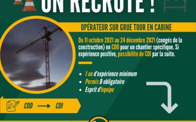 Offre d'emploi : Opérateur sur grue tour en cabine